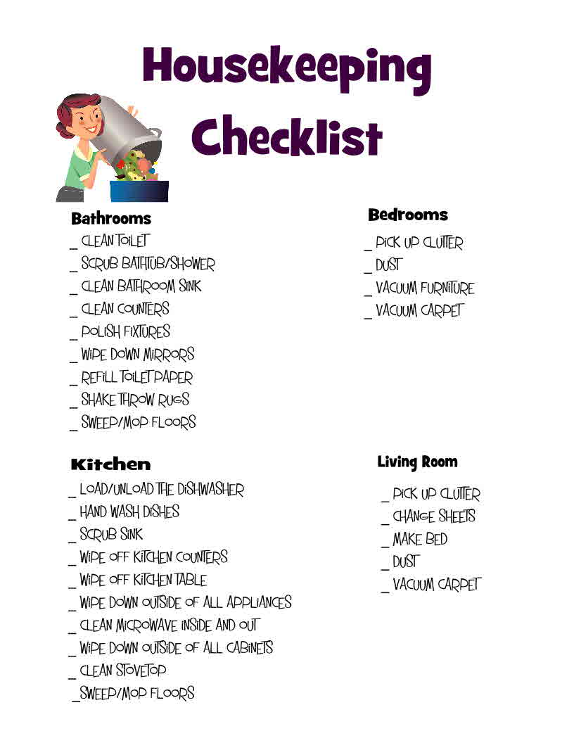 Housekeeping checklist olivegypsy for Daily hotel